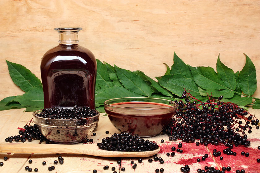 Fresh Black Elderberry Syrup for Cold and Flu